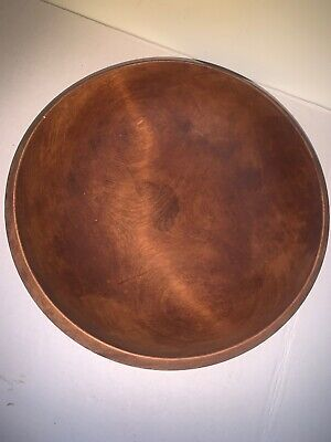 """LARGE EARLY Japanese Japan ANTIQUE HAND MADE WOODEN BOWL 14"""" No Chips Cracks"""