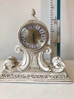 Ornate SHABBY CHIC CREAM IVORY MANTLE CLOCK