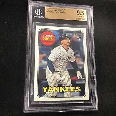 GLEYBER TORRES 2018 Topps Heritage High Action Variation Rookie #603 RC BGS 9.5