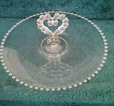 Imperial Candlewick Serving Tray w/ Heart Handle Bead Trim Clear Glass 11.75""