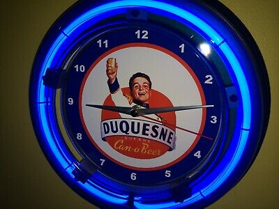 Duquesne Duke Beer Bar Man Cave Advertising Blue Neon Wall Clock Sign