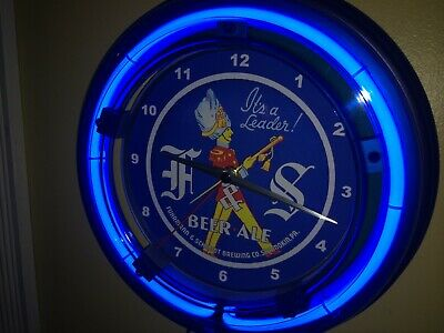 F&S Fuhrmann Schmidt Beer Bar Man Cave Blue Neon Wall Clock Sign