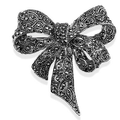 Crystal Rhinestone Bow Brooch Pin Women Shirt Collar Big Bowknot BroochJewelryTS