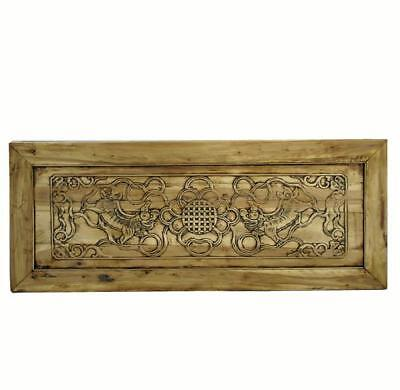 Hand Carved Dancing Lions Wood Wall Hanging Panel