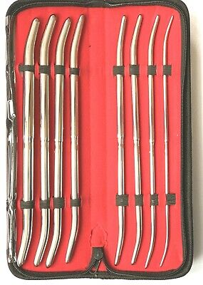 Double Ended Pratt Uterine Dilator Sounds Curved 8 pcs set