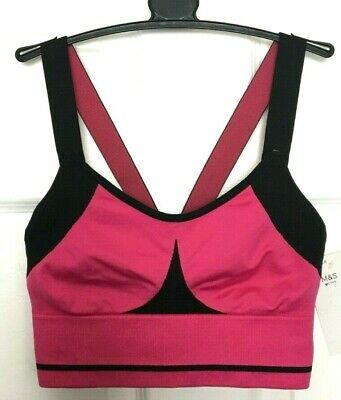 Ladies Sports Bra Small M&S Pink Med Impact Non Wired PullOn Seamfree BNWT Marks