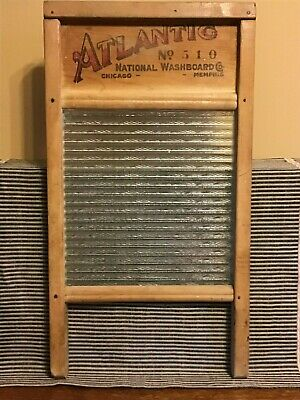 Vintage Atlantic no. 510 Ribbed Glass National Washboard