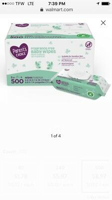 Parent's Choice Fragrance Free Baby Wipes, 500 ct - 5 Packs of 100 FREE SHIPPING