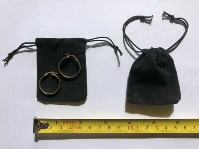 20 X Black Velvet Jewellry Drawstring Pouches Wedding And Party Favours