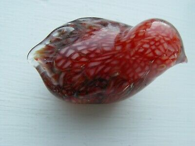 Vintage Art Glass Intricate Red Hues Hand Blown Small Bird Figurine Paperweight