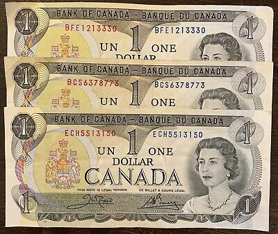 1973 - 3x Canadian One Dollar Banknote, 1$ - Crow/Bouey Bank Of Canada