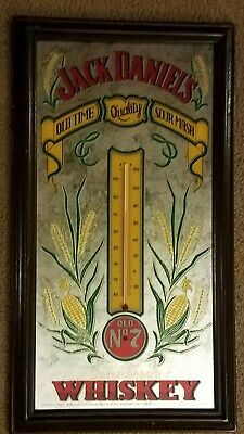 Vintage Jack Daniels Bar Mirror with thermometer Wood Frame Sign Whiskey