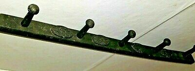 Antique Hanging Wooden Cabochons Peg Apron Herb Rack In Old Black Paint