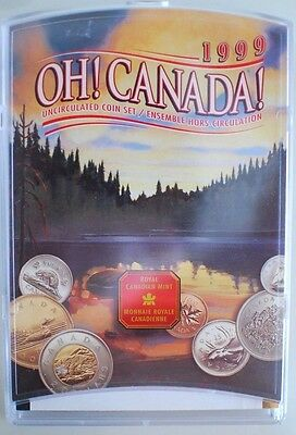 1999 OH! CANADA! Uncirculated RCM Coin set w/plastic display! Loonie and Toonie!