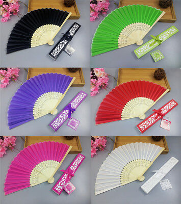 1PC Chinese Style Silk Fold Hand Held Fan + Gift Box Dance Party Wedding Gift Au