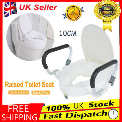 10cm Raised Toilet Seat Padded Lid Arms / Lid Portable Removable Disability Aids