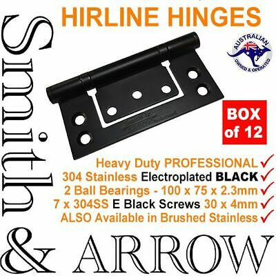 "DOOR HINGES 4"" 100mm BLACK HIRLINE NON NO MORTICE BUTT MORTISE STAINLESS STEEL"