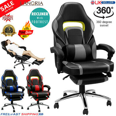 Racing Gaming Office Chair Executive Lumbar Support Swivel Faux Leather Computer