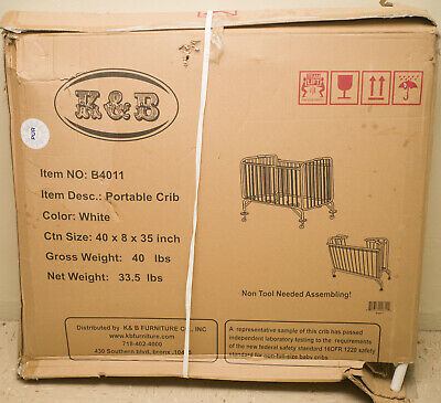 K&B B4011 Portable Folding Metal White bed