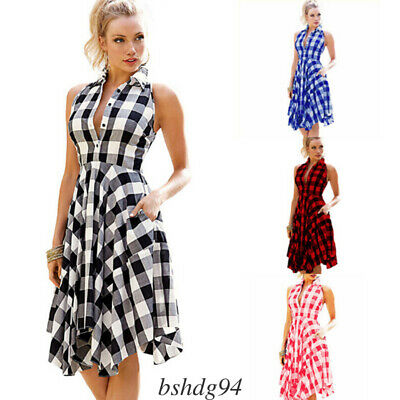 CA Women's Color Block Plaid T-Shirt Sleeveless Casual Party Loose Shirt Dress
