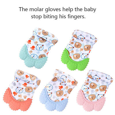 Baby Silicone Mitts Teething Mitten Glove Candy Wrapper Sound Teether Safe Food