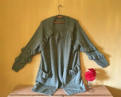 Vintage feel size 18 green teal wool mohair mix ruffle frill knit top cardigan