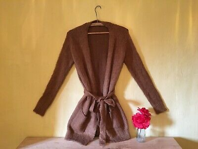 Vintage boho feel size 12 brown rust wool mohair mix long belted top cardigan