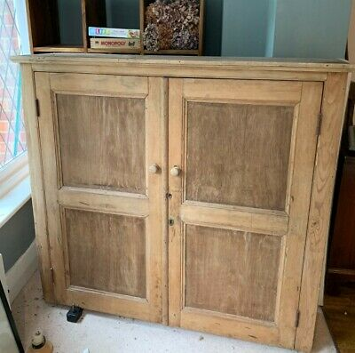 A lovely rustic large antique pine cupboard - vintage / shabby chic