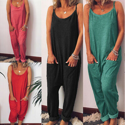 Women Simple Wide Leg Jumpsuit Sling Jumpsuit Loose Trouser Overall Holiday Pant