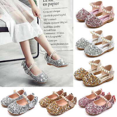 Kids Girls Sequins Blinky Party Sandals Toddler Bow Princess Wedding Flats Shoes