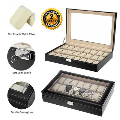 24 Grids Faux Leather Watch Case Storage Jewellery Display Box Glass Top UK