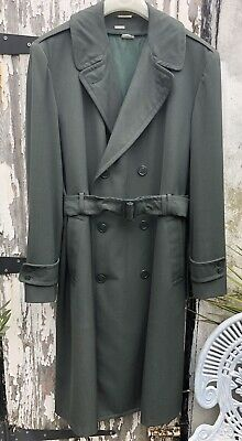 Vintage 40's Men's Muted Green Gaberdine Double Breasted Trench Coat 44 Long