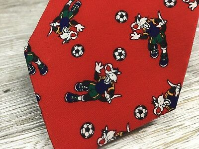 Warner Brothers Studio Kids Sylvester the cat Playing Soccer neck tie Red Silk