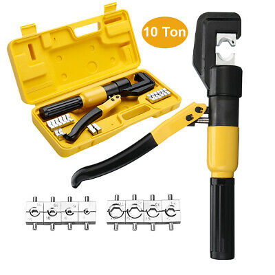 10 Ton Force Hydraulic Crimper Cable Electric Wire Crimping Stripper Tool Kit UK