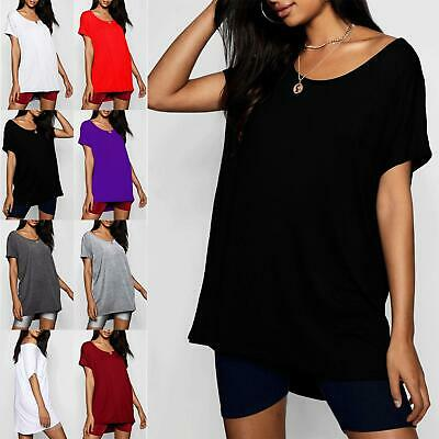 Womens Plain Oversized Ladies Batwing Casual Baggy Curved Hem Hi Lo T-Shirt Top