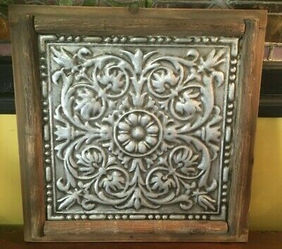 """Framed Tin Ceiling Wall Decor  Embossed 18"""" Ready To Hang"""