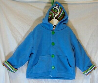 Baby Boys Mini Mode Blue Soft Fleece Cotton Lined Hooded Coat Age 12-18 Months