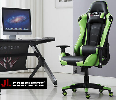 JL Comfurni Reclining Home Office Gaming Chair Racing Computer Swivel Leather