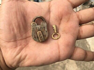 03) Old or antique solid brass padlock lock with key miniature sized.
