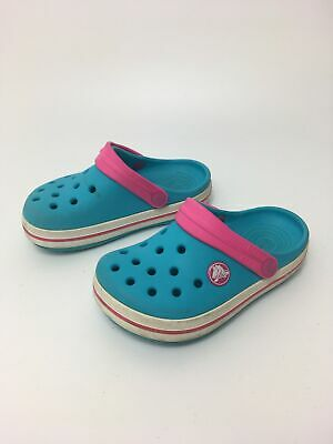 Girls Childs Crocs Blue Slip On Beach Summer Holiday Garden Sandals Uk 8 - 9 C