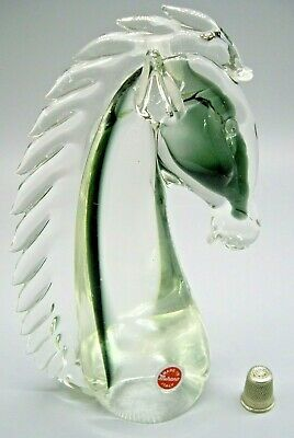 Stunning vintage original label Murano sommerso glass horse head sculpture 21cm