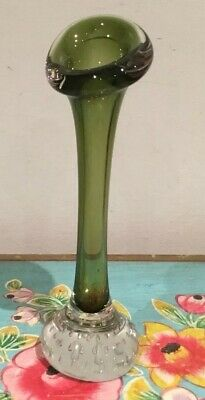 Vintage Green  Murano Glass Controlled Bubble Vase
