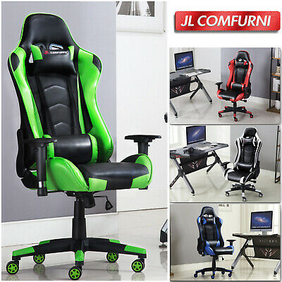 JL Comfurni Gaming Racing Home Office Chair Executive Swivel Recliner Leather