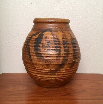 Impressive Large Modernist Studio Pottery Vase Pot, Vintage 1960s Signed 13.5""