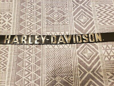 Harley-Davidson Men's Textured Metal Font Genuine Leather Belt SZ 38