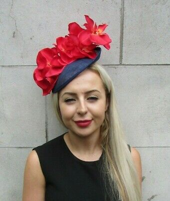 Navy Blue & Red Floral Orchid Flower Saucer Disc Hat Fascinator Races Hair 7243