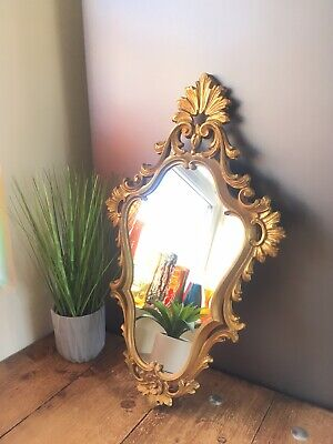Vintage Heavily Gilded Ornate Gold Italian Giltwood Mirror Regency Rococo Style