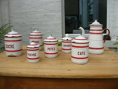 Vintage French Enamel Kitchen Canisters Jars Coffee Pot enamelware