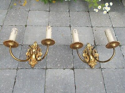 Pair Couple Vintage Ornate Brass Two-Arm Double Wall Sconce Light Lamp Sleeves