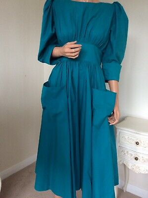 "Vintage Droopy & Browns Dress By Angela Holmes Teal Cotton 80s 40"" 14 arty"